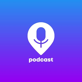 Podcast logo icon with pin marker