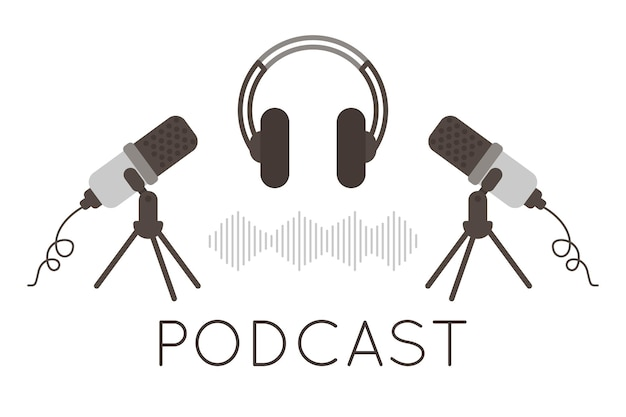 Podcast logo. the microphone, headphone icon and sound image. podcast radio icon. studio microphone for webcast, recording audio podcast or online show. audio record concept. vector illustration.