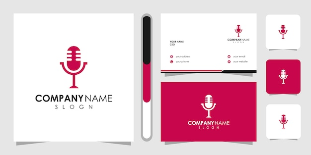Podcast logo template and business card