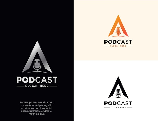 Podcast logo template collection