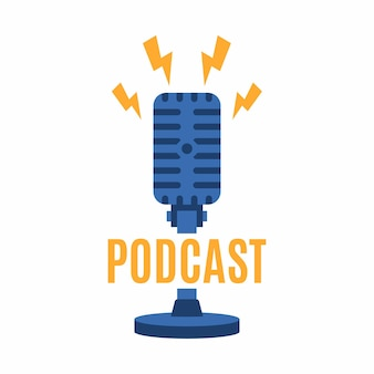 Podcast logo template. microphone and lightning icon