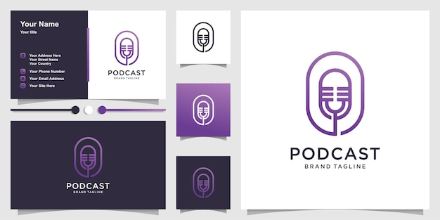 Podcast logo template with creative concept and business card design