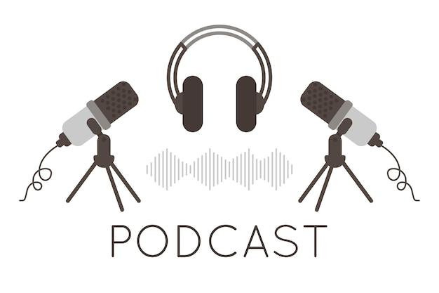 팟캐스트 로고. 마이크, 헤드폰 아이콘 및 사운드 이미지. 팟캐스트 라디오 아이콘입니다. 웹캐스트용 스튜디오 마이크, 오디오 팟캐스트 또는 온라인 쇼 녹음. 오디오 레코드 개념입니다. 벡터 일러스트 레이 션.
