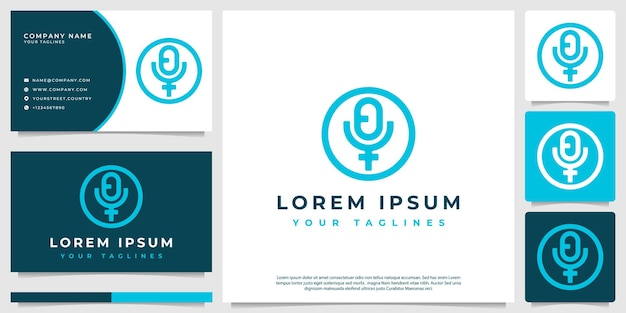 Podcast logo vector with line art style