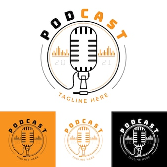 Podcast logo with various colored backgrounds