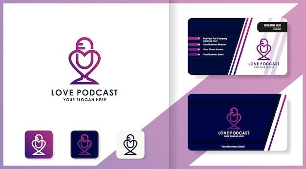 Подкаст любовь дизайн логотипа и визитная карточка