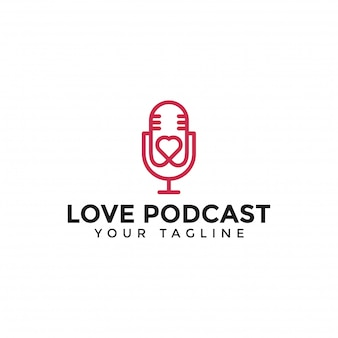 Podcast love logo line  template