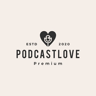 Podcast love  vintage logo  icon illustration