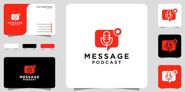 Podcast message logo inspiration, notification, icon and business card design ikon