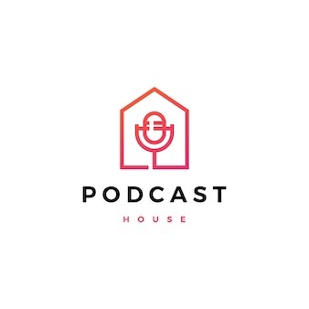 Podcast mic house home logo  icon