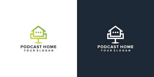 Podcast mic house home logo