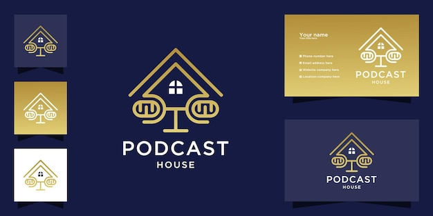 Podcast mic house logo and business card Premium Vector
