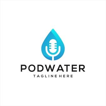팟캐스트 마이크 마이크 디자인 로고와 물 로고.