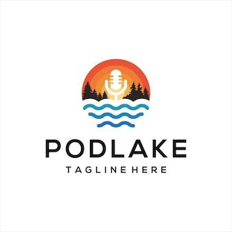 Podcast mic microphone design logo and lake logo.