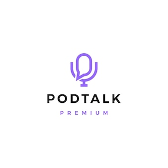 Podcast mic talk chat bubble logo icon illustration