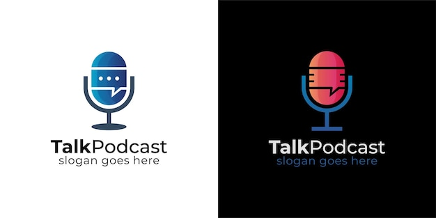 Podcast mic talk chat bubble logo
