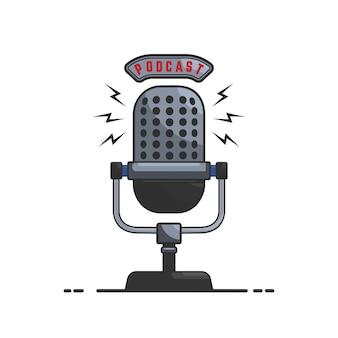 Подкаст. иллюстрация микрофона в стиле на белом фоне. элемент для эмблемы, знака, флаера, карты, баннера. образ
