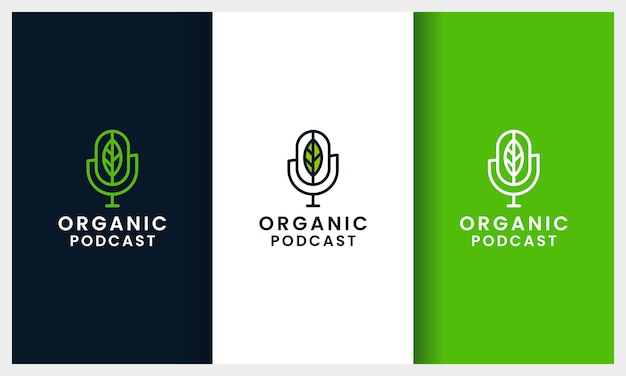 Podcast microphone with line art leaf concept logo design template