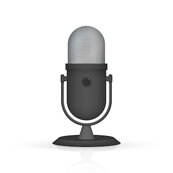 Podcast. microphone with speech bubble icons.  illustration.