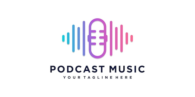 Podcast music logo concept with modern creative style premium vector