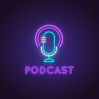 Podcast neon sign. glowing studio microphone icon.