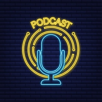 Podcast neon sign. the microphone icon. broadcast podcast. vector stock illustratio.