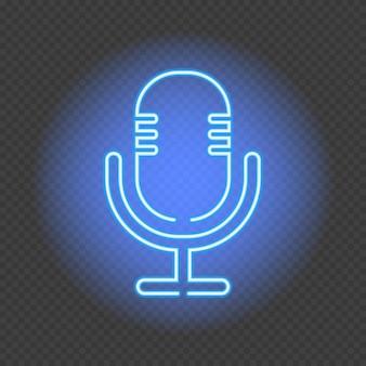 팟캐스트 네온사인. 투명 한 배경에 마이크입니다. 라디오 방송국 및 방송을 위한 네온 스타일의 벡터 삽화.