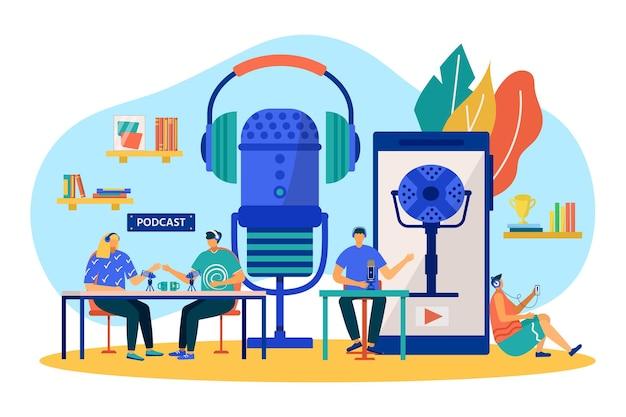 팟캐스트, 온라인 라디오 기술, 벡터 일러스트 레이 션. 오디오를 녹음하는 마이크, 엔터테인먼트 미디어에서 평평한 사람들 캐릭터 작업. 남자는 스마트폰으로 오디오를 듣고 여자는 팟캐스팅을 방송합니다.