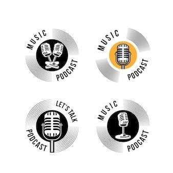 ポッドキャストまたは歌手のボーカルカラオケのロゴとレトロなマイクとビニールのアイコン。