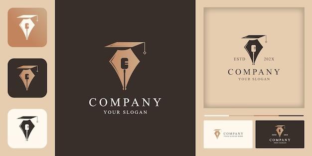 Podcast pen educational logo design and business card design