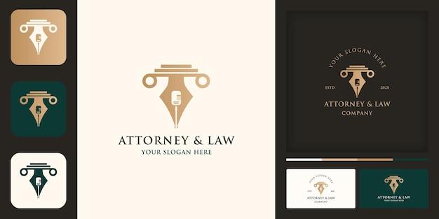 Подкаст ручка закона логотип и визитная карточка