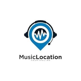 Подкаст булавка логотип с шаблоном дизайна иллюстрации волны