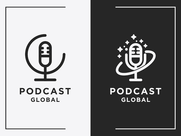 Podcast planet logo set design template simple icons