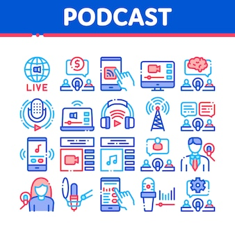 Podcast and radio collection icons set