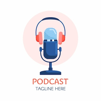 Podcast or radio logo design using microphone and headphone icon