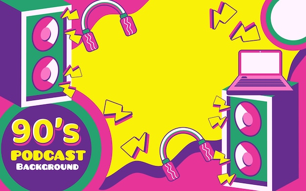 Podcast retro vintage background banner with logos