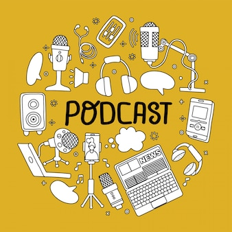 Podcast round badge with handwritten lettering and technic elements. text and podcasts symbols of mic, headset, phone isolated on yellow background.   circle shape dodole sketch concept.