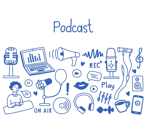 Podcast set with copy space various microphones equipment headphones audio sound images vector