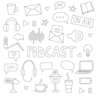 Podcast show hand drawn cartoon illustration with different podcast elements