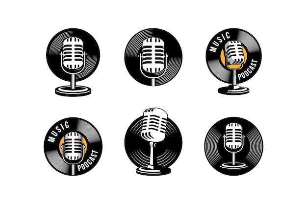 Podcast or singer vocal karaoke logo with retro microphone and vinyl icon.