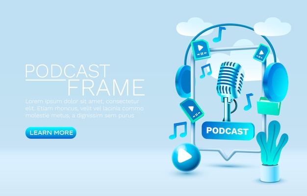 Podcast smart play chat for people to communicate vector