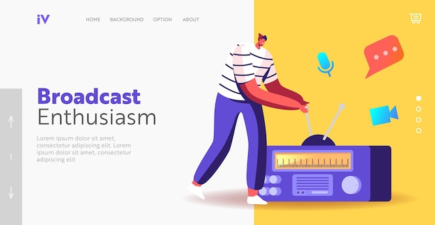 Podcast social media communication landing page template. character work on radio, radio dj or character speak, broadcasting program on air and communicate with listeners. cartoon vector illustration