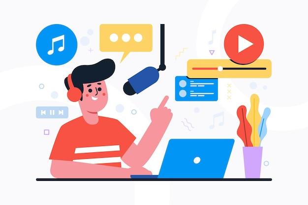 Podcast social media concept