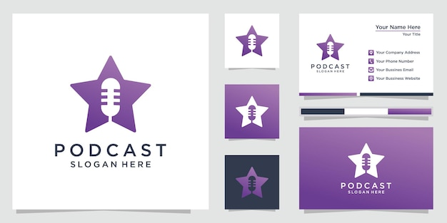 Podcast star logo with business card template. premium
