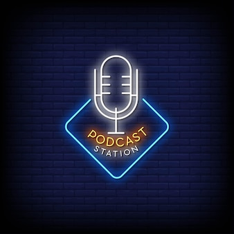 Podcast station logo neon signs style text