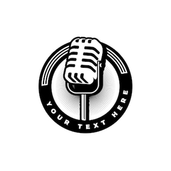 Podcast station singer karaoke with retro microphone. design element for logo, label, emblem, sign.
