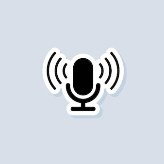 Podcast sticker. microphone icon. logo, application, user interface. podcast radio icons. vector on isolated background. eps 10.