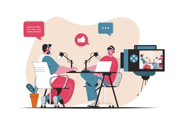 팟캐스트 스트리밍 개념이 격리되었습니다. 라디오 발표자가 라이브에서 마이크에 대고 이야기합니다. 평면 만화 디자인의 사람들 장면. 블로깅, 웹 사이트, 모바일 앱, 판촉 자료에 대한 벡터 일러스트 레이 션.