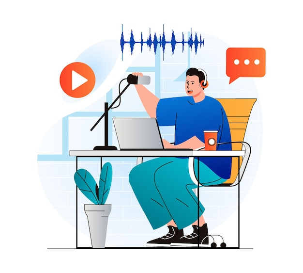 Podcast streaming concept in modern flat design man talking in microphone at live radio show