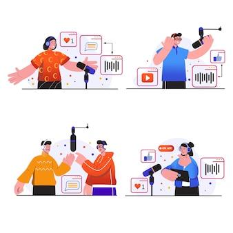Концептуальные сцены потоковой передачи подкастов показывают, что люди в наушниках разговаривают в микрофоны в студии